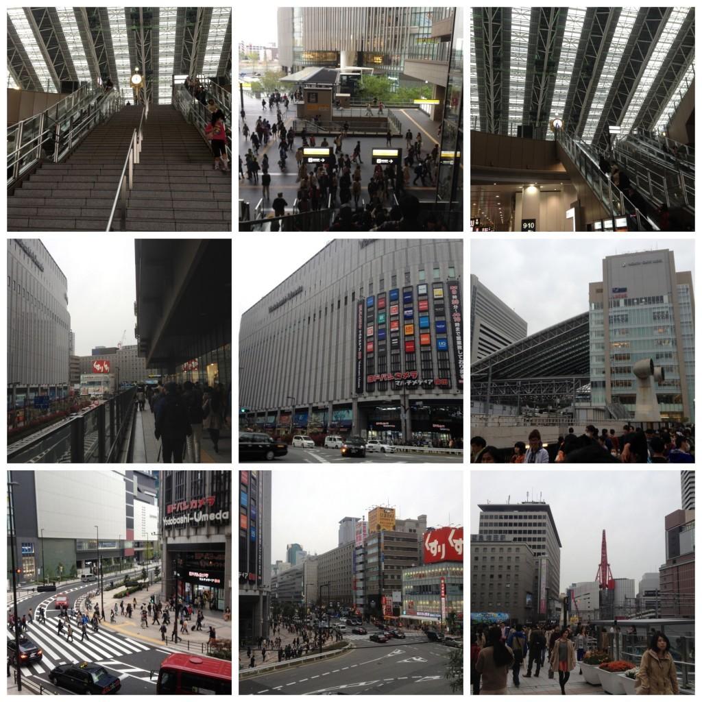 Walk from Osaka station to restaurant
