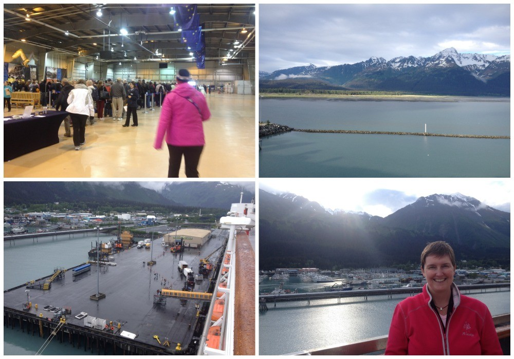 By passing the lines of people at Seward cruise terminal heading back on board