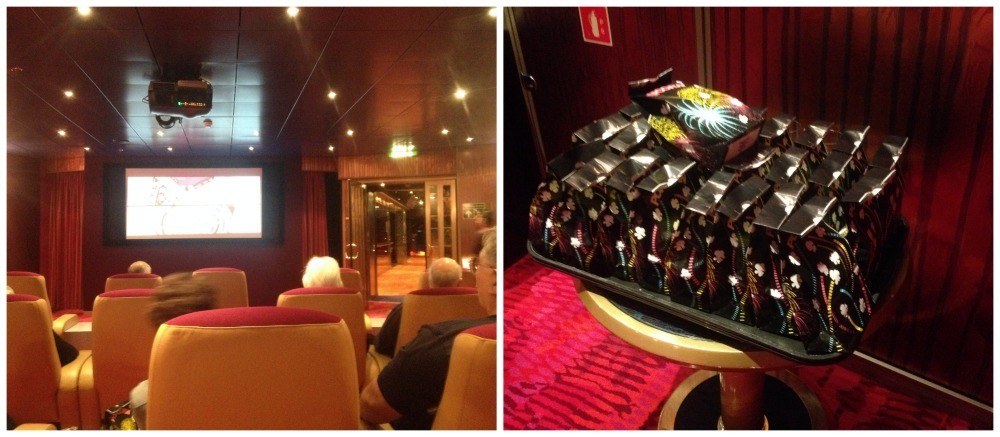 Cinema room on MS Oosterdam with bags of popcorn