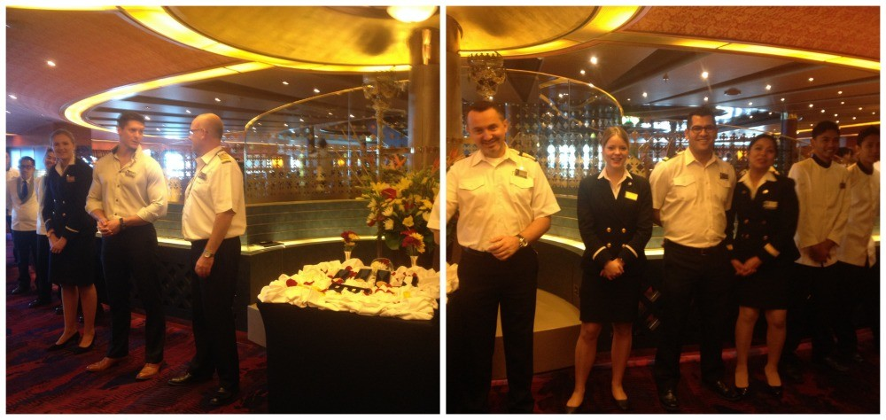 The Captain and some of the crew welcome returning HAL guests back to the Mariners lunch
