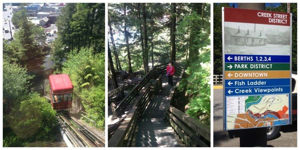 The walk down from the top of the hill in Ketchikan