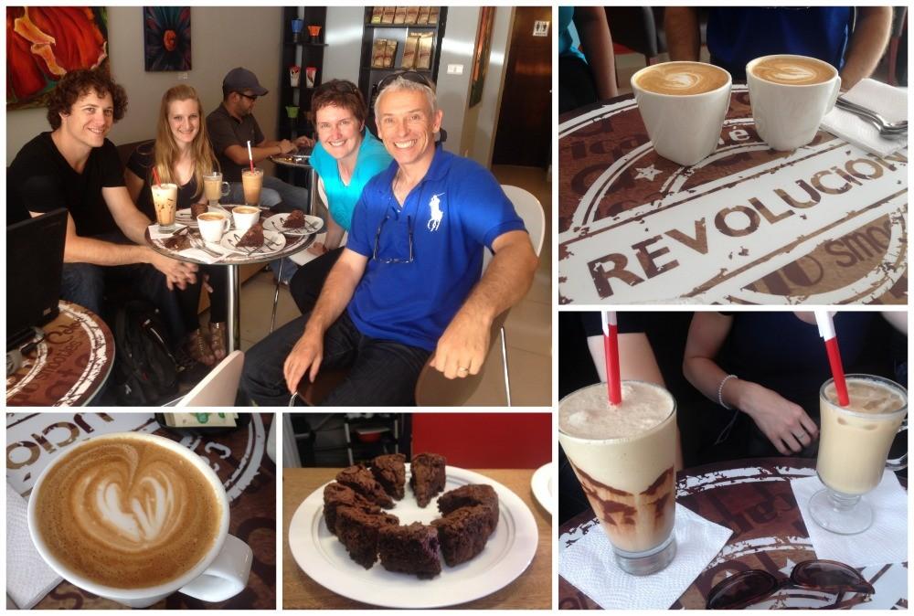 Coffee & chocolate cake at Cafe Revolucion