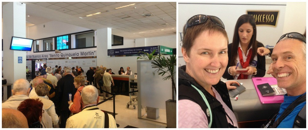 First check-in at the cruise terminal