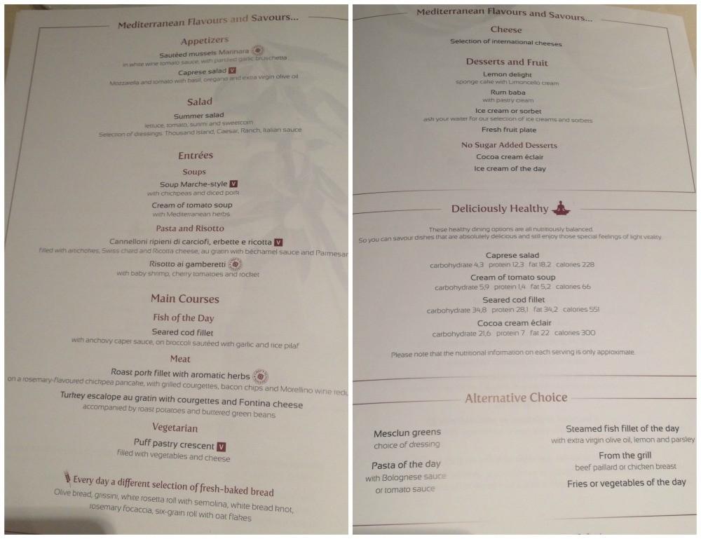 L'Edera dinner menu 1st night MSC Magnifica