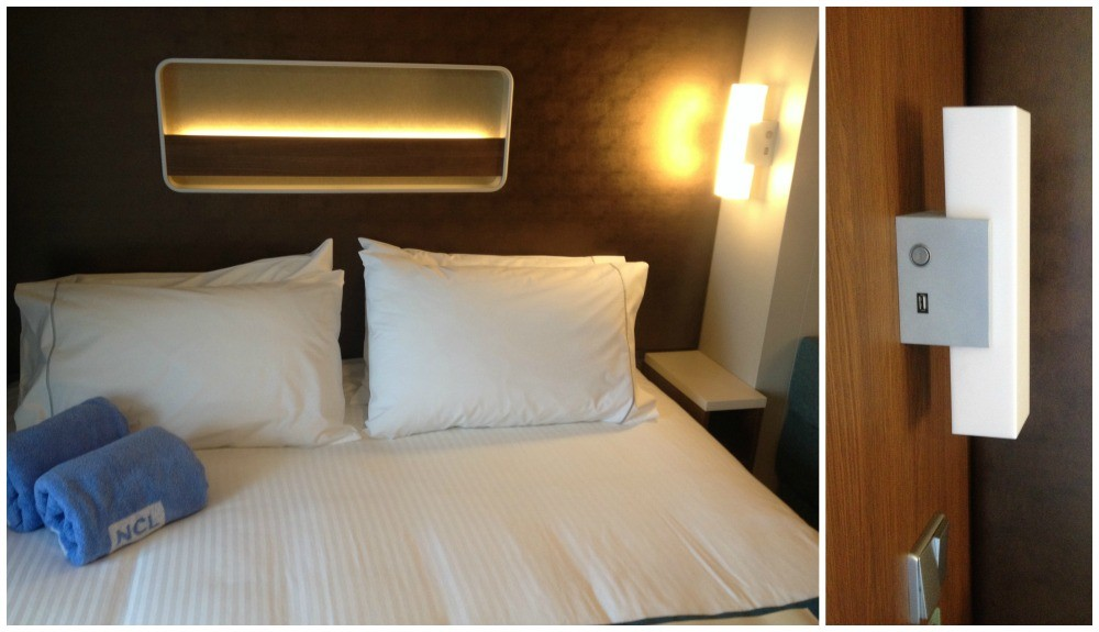 Bedroom space on NCL Escape, great lighting with a USB charge outlet on each bed lamp