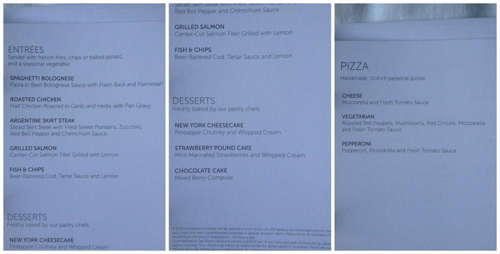 Room service menu #3
