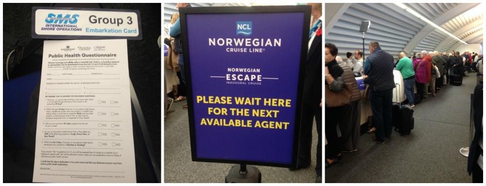 Standard public health questionaire, before check-in for Norwegian Escape Inaugural cruise