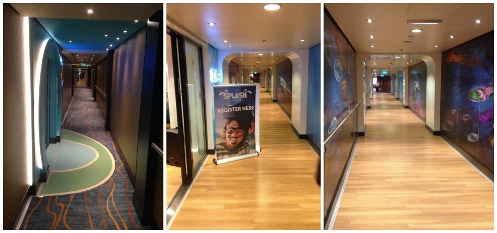 The corridor on embarkation deck 5 on Norwegian Escape
