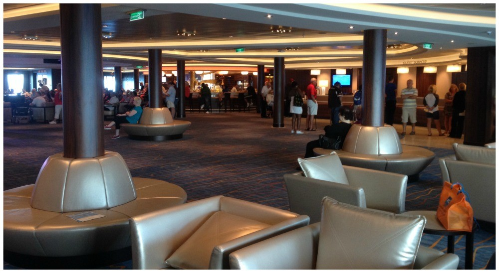 The view to the Atrium from the Internet Cafe on Norwegian Escape