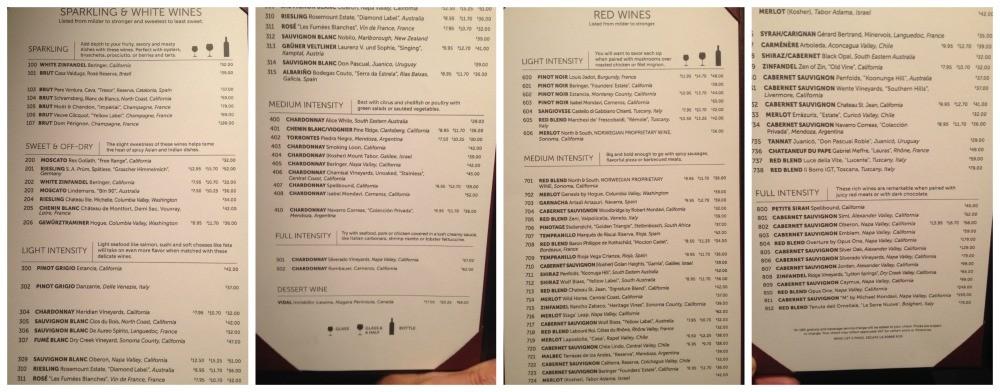 Wine list on NCL Escape