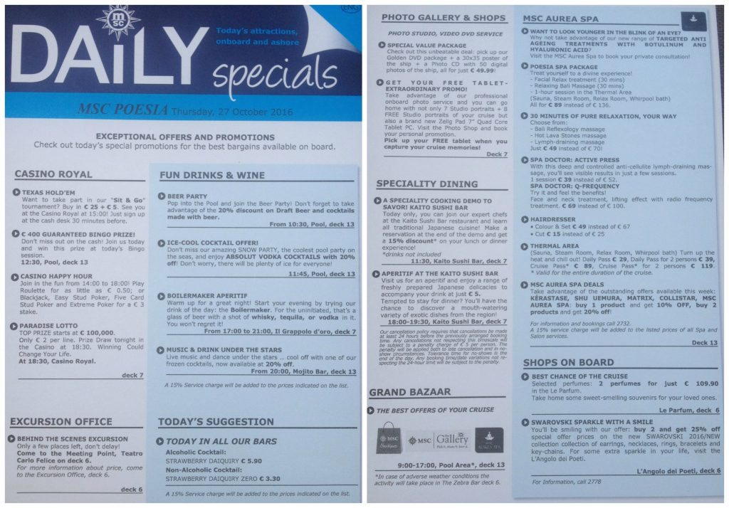 Daily specials for Palma