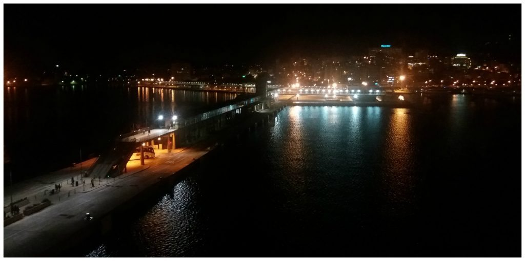 The Palma cruise port at night
