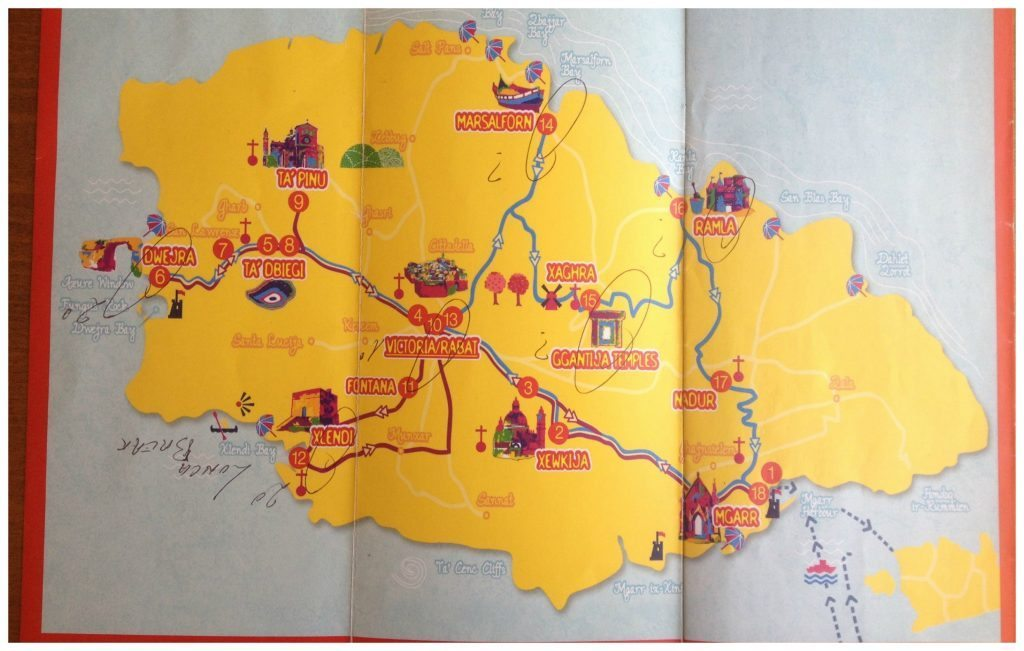 Gozo island map for Hop on Hop off bus tour