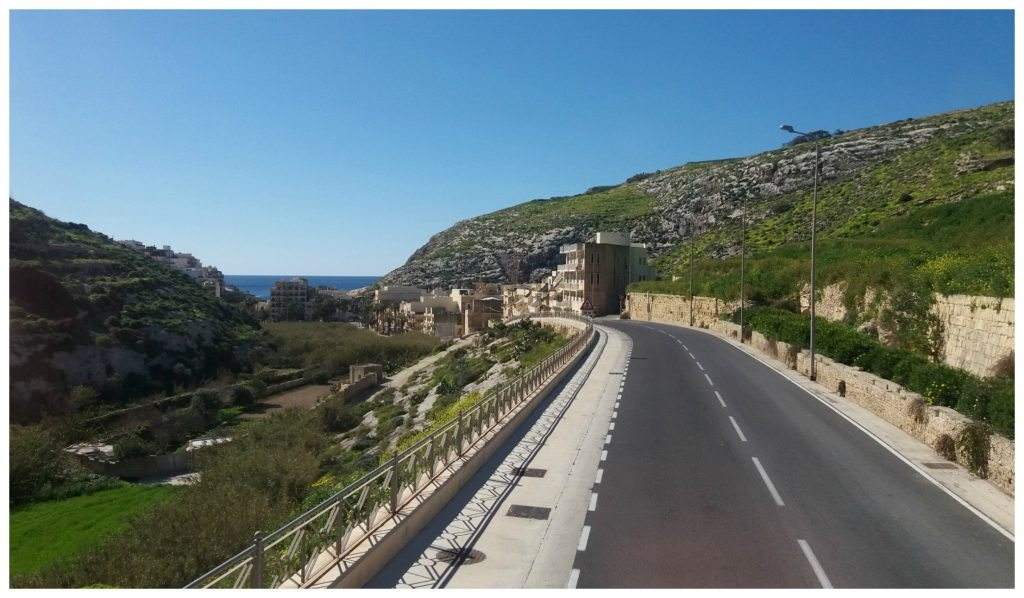 Heading into Xlendi on the Gozo Hop on Hop off bus