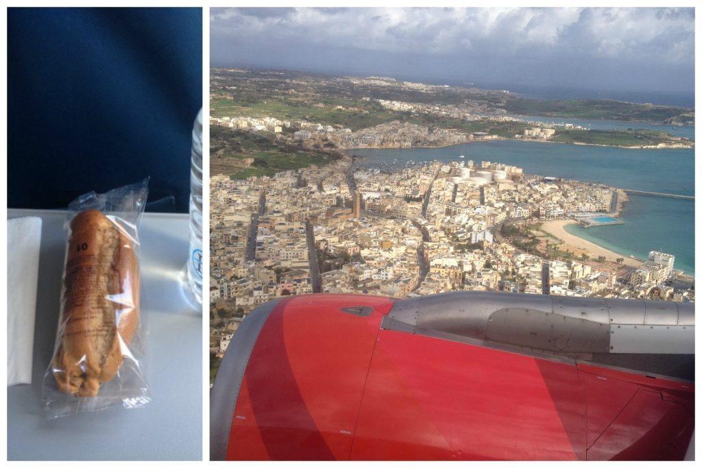 Sandwich on the plane & flying over Malta