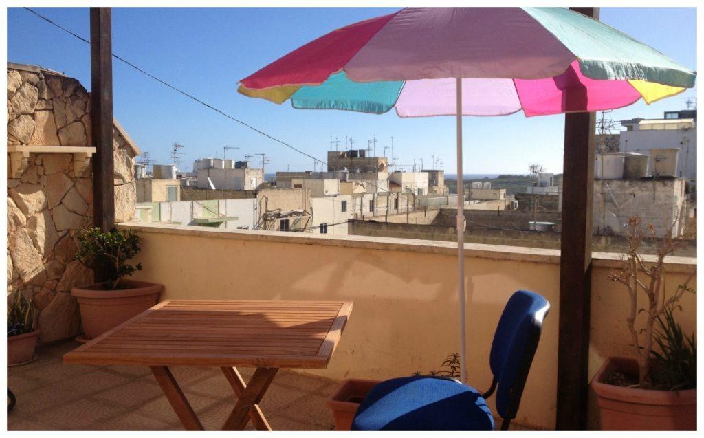 Front terrace view in Malta
