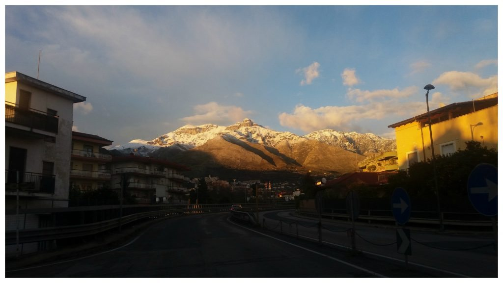 Snow tops the mountains in Formia