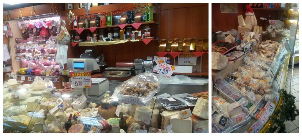 meats and cheese from the local supermarket in Formia
